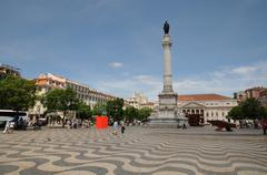 Portugal, the district of Baixa in Lisbon Stock Photos