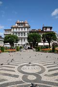 Square in the city of Guimaraes in Portugal Stock Photos