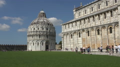 Pisa Italy Leaning Tower and Cathedral Baptistery fast 4K 041 Stock Footage