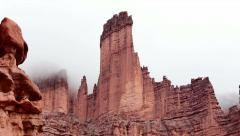 Fisher Towers Near Moab Utah Panning Shot to Reveal Epic Rocks Stock Footage