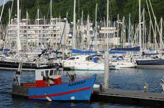 Brittany, the harbour of Perros Guirec Stock Photos