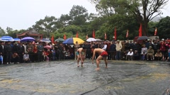 wrestlers compete in national wrestling, Asia - stock footage