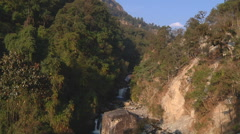 Stock Video Footage of Waterfall at Annapurna region, Himalayas in Nepal