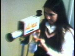 1970's Student Operates Portable Video Gear Stock Footage