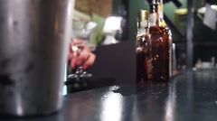 Barrtender Making a Cocktail With Shaker Stock Footage