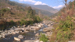River at Annapurna region, Himalayas in Nepal Stock Footage