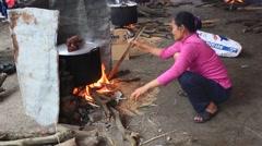 People exam to make round sticky rice cake. Stock Footage