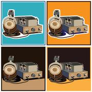 Headphones and amplifier set Stock Illustration