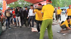 farmers play firecrackers, Asia Stock Footage