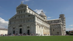Pisa Italy Leaning Tower and Cathedral tourists fast 4K 039 Stock Footage