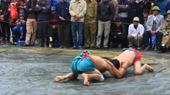 Wrestlers compete in national wrestling, Asia Stock Footage