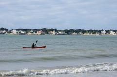 France, beach of Le Pouliguen view from La Baule Stock Photos