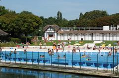 Val d Oise, swimming pool of L Isle Adam Stock Photos