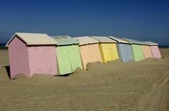 Beach huts in Berck in Nord Pas de Calais Stock Photos
