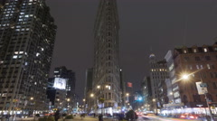 4K Time lapse zoom out Flatiron Building New York at night - stock footage