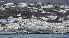 Mykonos Greece harbor city 4K 009 Stock Footage