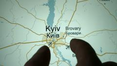 Kiev on the world map - stock footage