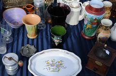 old objects on a flea market - stock photo