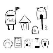 Doodle style mailbox and post box Piirros