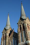 Quebec, the historical church of  Sainte Anne des monts Stock Photos