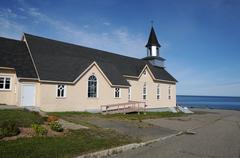 Quebec, the historical church of  La Martre Stock Photos