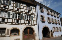 Alsace, the picturesque old village of Eguisheim - stock photo