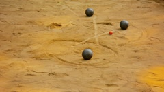 Game of Petanque on Sand in Luang Prabang, Laos Stock Footage