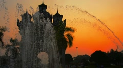 Patuxai Victory Arch in Vientiane, Laos at Sunset Stock Footage