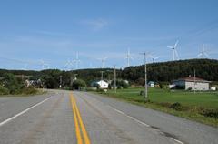 Quebec, wind generator in Cap Chat in Gaspesie Stock Photos