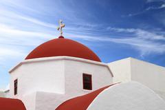 Classical church of Mykonos island in Greece Stock Photos