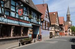 Alsace, the village of Kintzheim in Bas Rhin - stock photo