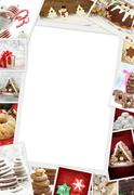 Collection of Christmas photos of confections with copy space - stock photo