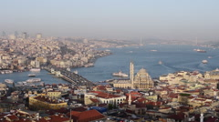 Aerial view of Istanbul and Galata Bridge at sunset Stock Footage
