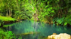 Greenery and Clear Blue Water at Blue Lagoon in Laos Stock Footage