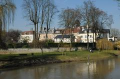Val d Oise, picturesque city of L Isle Adam - stock photo