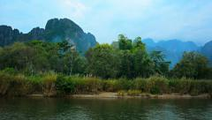 Panning Shot of Nam Song River in Laos Stock Footage