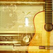 Abstract grunge background with retro radio Stock Illustration