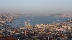 Aerial view of Istanbul skyline and Bosporus sea at sunset Stock Footage