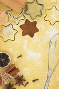 Making star cookies with cookie cutter - stock photo