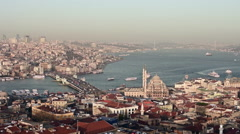 Aerial view of Marine traffic on Bosporus sea and Istanbul  Stock Footage