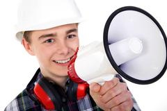 Man shout in a megaphone Stock Photos