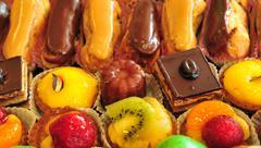 Ile de France, close up of cakes assortment Stock Photos