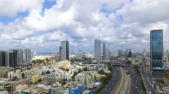 4k Tel aviv Skyline - Tilt Down Stock Footage