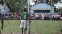 Corner shot during a football match in the jungle Stock Footage