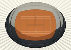 Clay Tennis Court In The Day - stock illustration