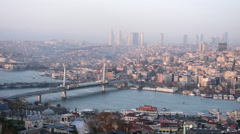 Aerial view of Istanbul; Golden Horn at sunset Stock Footage