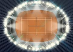 Clay Tennis Court At Night Stock Illustration