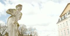 Old statue in Palace Garden, Palastgarden, Trier, Germany Stock Footage