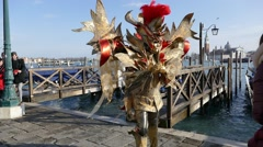 Masks and costumes from the carnival in Venice. Stock Footage