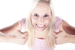 woman thump up - stock photo